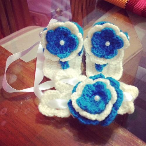 conjunto de zandalias/zapato y cintillo para niña a crochet