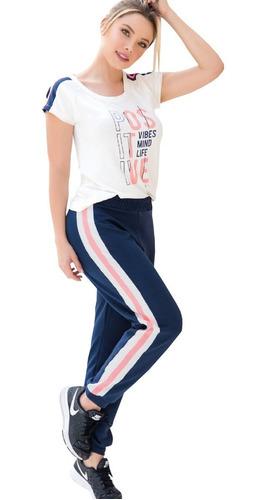 conjunto deportivo camiseta lineas y jogger sudadera mujer