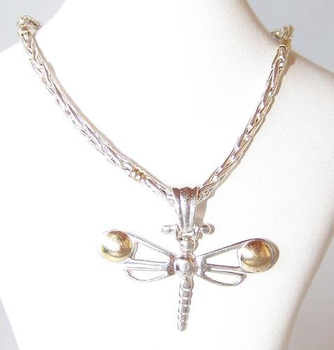 conjunto dije libélula plata 925 oro + cadena plata oro 50cm