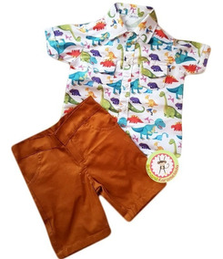 eabeeccde7154c Conjunto Dinossauros Temático Camisa Menino Festa Gravata