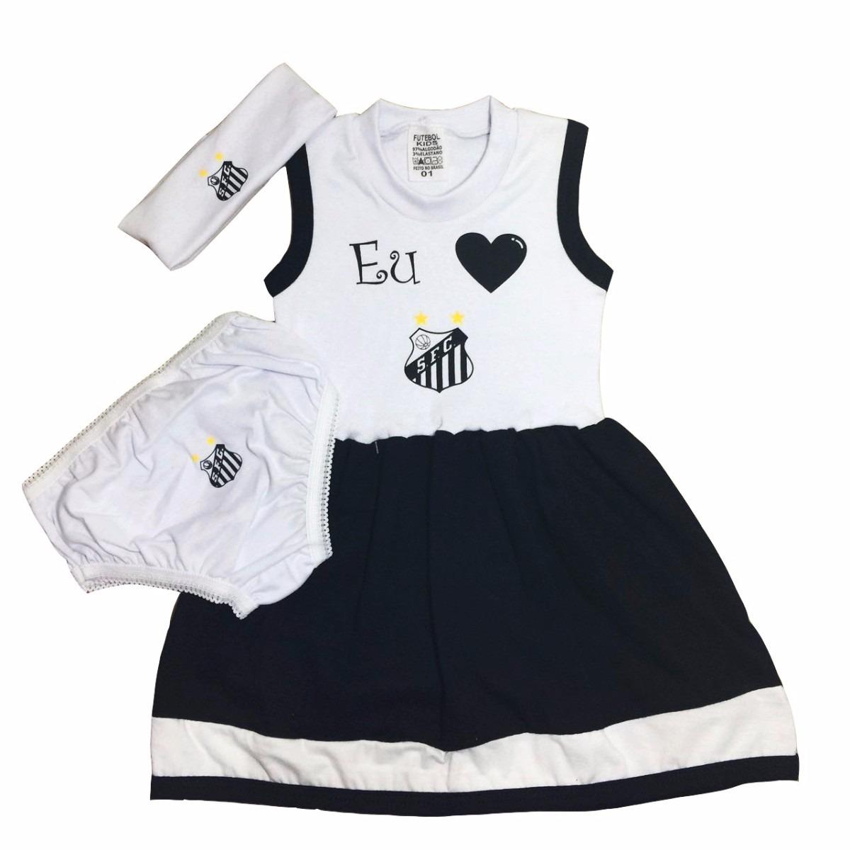 Conjunto Do Santos Vestido P  Bebê C  3 Peças Menina - R  39 b67a3d228c3c3