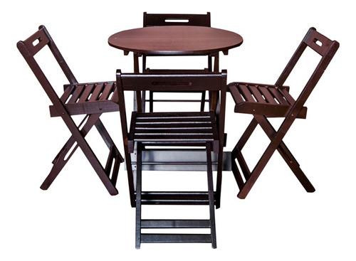 conjunto dobrável 70x70 redondo com 4 cadeiras