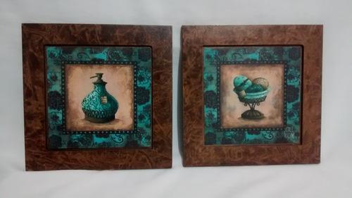 conjunto dois quadros decorativos mdf decor lavabo banheiro
