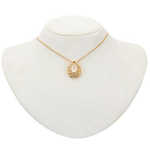 conjunto dourado opala cravejado em zircônia branca cj050024