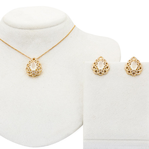 conjunto dourado opala em zircônia branca - cj050024