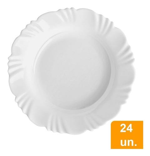 conjunto d/pratos fundo d/vidro 24p/opaline pétala - duralex