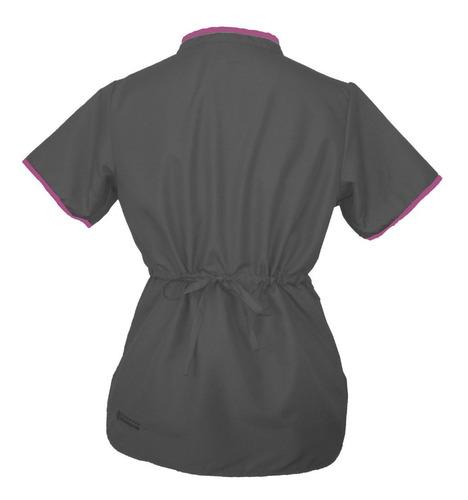 conjunto dynasty  gris roca, rosa carmin uniforme medico