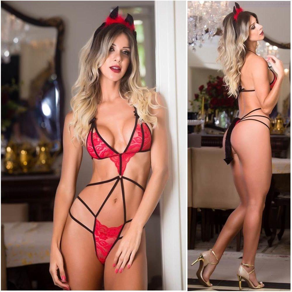 fa2e0c5974974 conjunto em renda diabinha com strap lingerie vermelha. Carregando zoom.