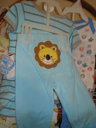 conjunto en algodon 3 p. body manga larga  pantalon y babero