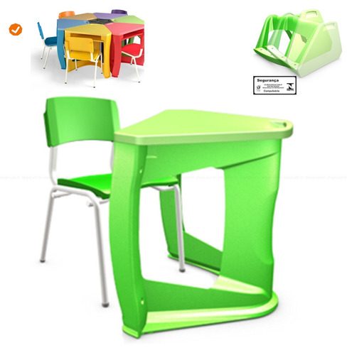 conjunto escolar infantil | mesa + cadeira | várias cores