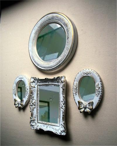 conjunto espelhos decorativos (04 peças).