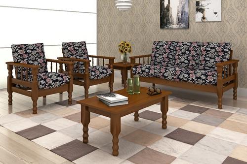 conjunto estofados 3+1+1 lugares + mesa centro + mesa canto