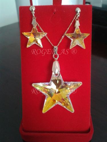 conjunto estrela cristal swarovski 2,8 cm folheada ouro 18k