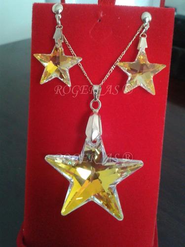 conjunto estrela cristal swarovski 4,0 cm folheada ouro 18k