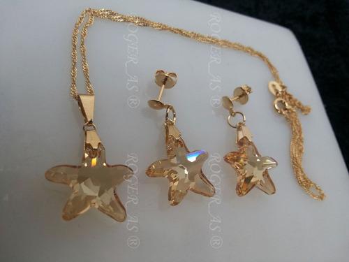 conjunto estrela do mar cristal swarovski golden folh. ouro