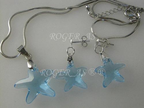 conjunto  estrela do mar cristal swarovski sapphire em ródio