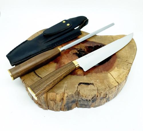 conjunto faca e chaira churrasco aço inox cutelaria tradição