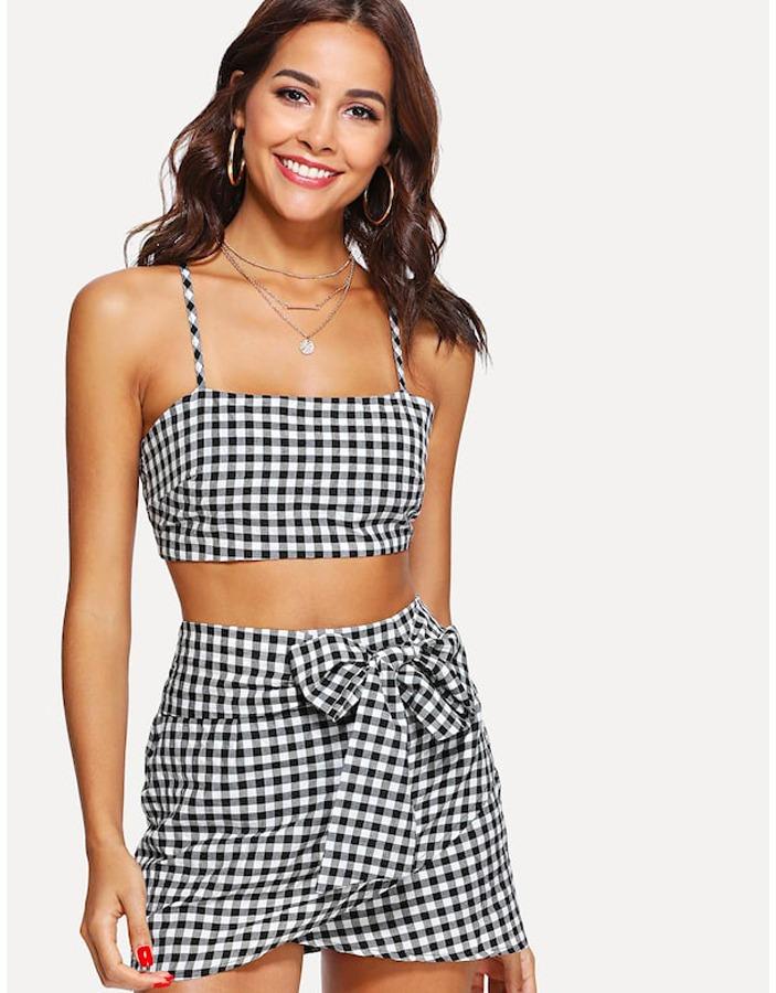 f10785c8c9 Conjunto Falda Crop Top Cuadros Moda Mujer -   629.00 en Mercado Libre