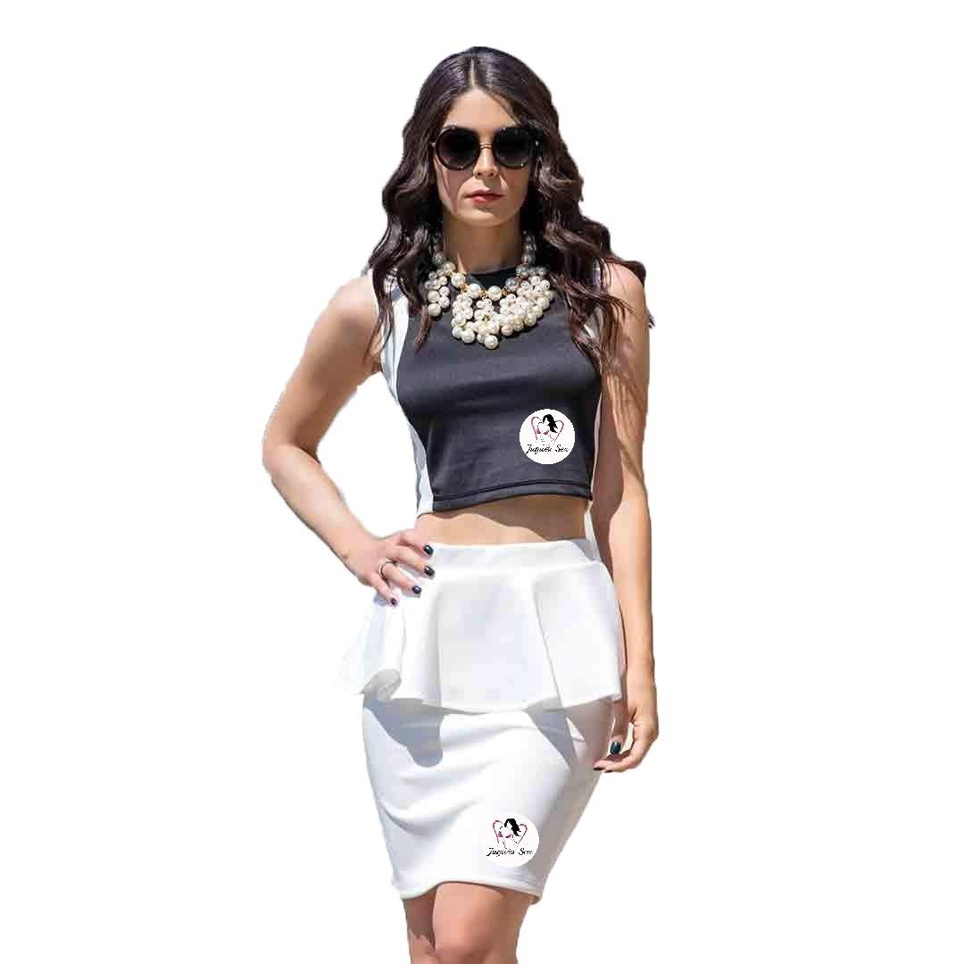 e9cd935634 Cargando zoom... conjunto falda pleplum y crop top sexy moda ...