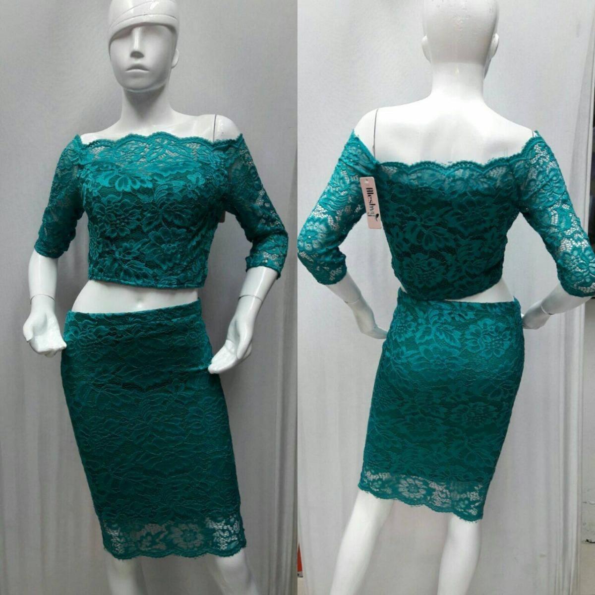 Conjunto Falda Y Blusa Encaje Ajustable -   375.00 en Mercado Libre 457a19aed1d8