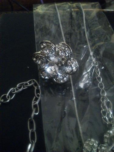 conjunto fantasía fiesta: aros, anillo, pulsera y collar