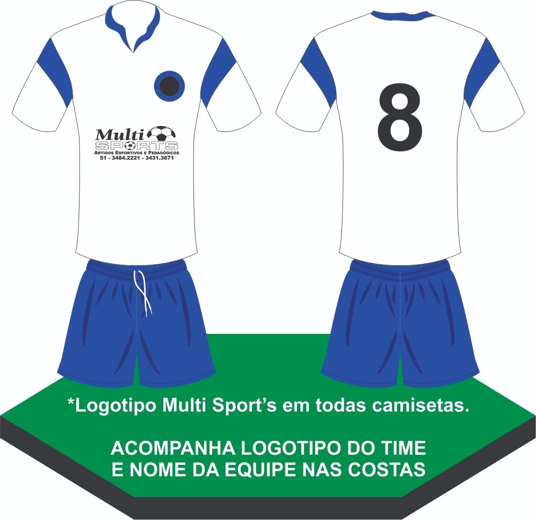 conjunto fardamento uniforme futebol 10 pçs branco azul. Carregando zoom. 97ab6e82d8194