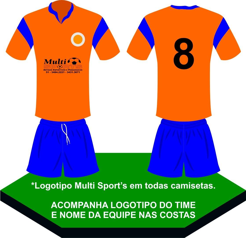 conjunto fardamento uniforme futebol 10 pçs laranja azul. Carregando zoom. bf4b64441c3c4