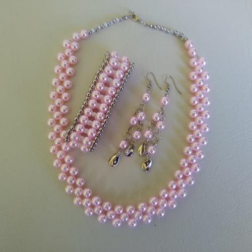 conjunto feito com perola em abs rosa ref: 9277