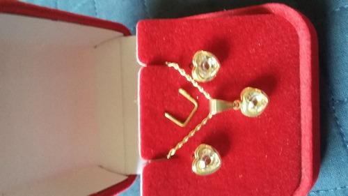 conjunto feminino banhado ouro 18k pingente ponto de luz