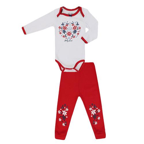 conjunto feminino bebê body e calça malha floral