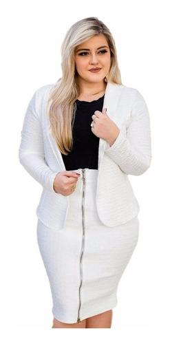 conjunto feminino  blazer e saia midi ziper frontal promoção