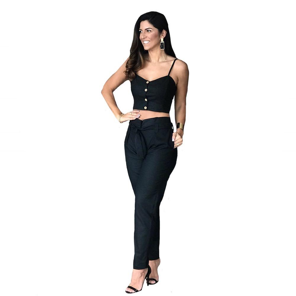 3ec7ac42a0 conjunto feminino blusa alcinha e calça cintura alta linho. Carregando zoom.