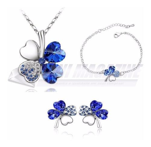 conjunto feminino colar brinco pulseira banhado prata 925