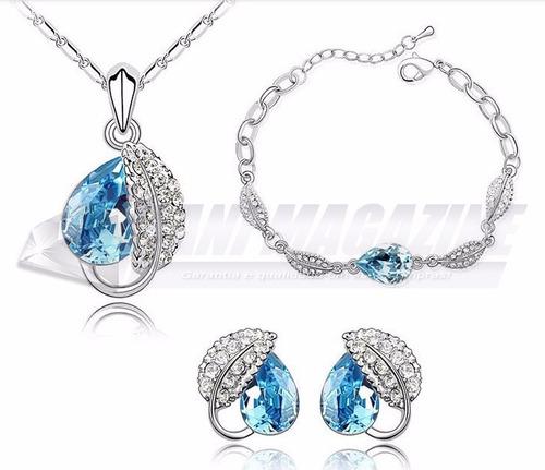 conjunto feminino colar pulseira brinco cristais swarovski