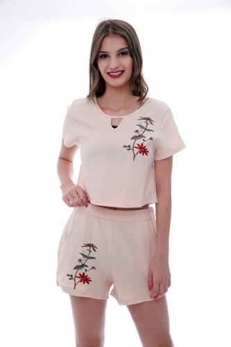 conjunto feminino com bordado modelo 2018 importar  promoção