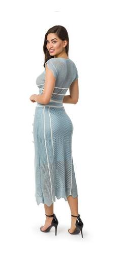 conjunto feminino cropped saia midi botões tricô tricot 5072