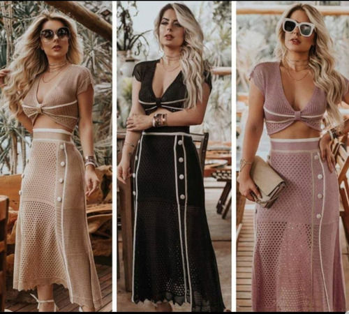 conjunto feminino cropped + saia midi moda verão praia