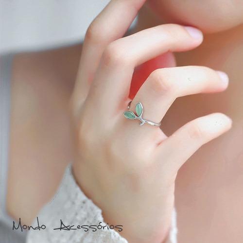 conjunto feminino em prata esterlina brincos e anel natureza