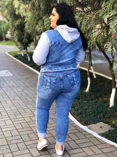 conjunto feminino inverno jeans c/ moletom 36 ao plus size