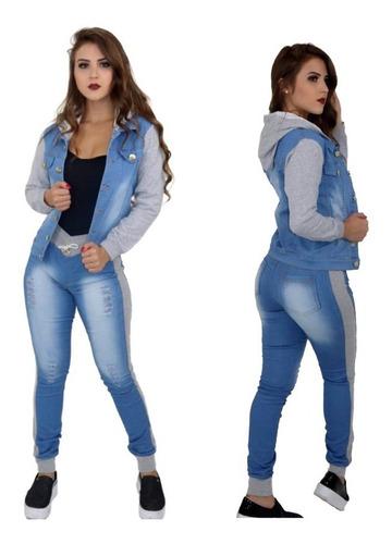 conjunto feminino jeans moletom capuz + gloss brinde mulher kit calça e jaqueta blogueira
