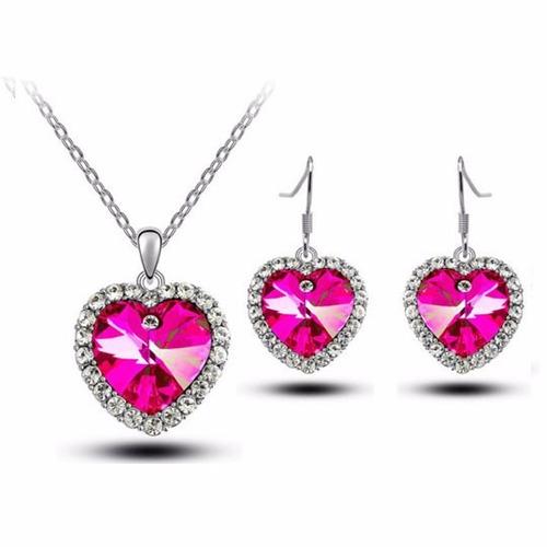 conjunto feminino ouro branco coração crystal swarovski