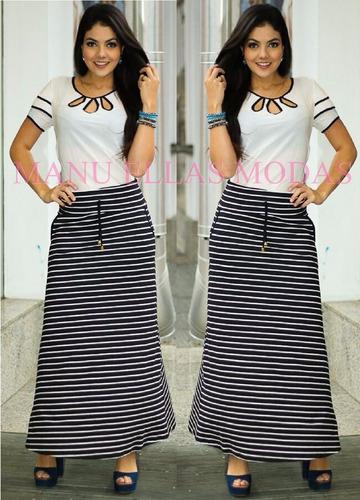 conjunto feminino saia longa + blusa gota moda evangélica