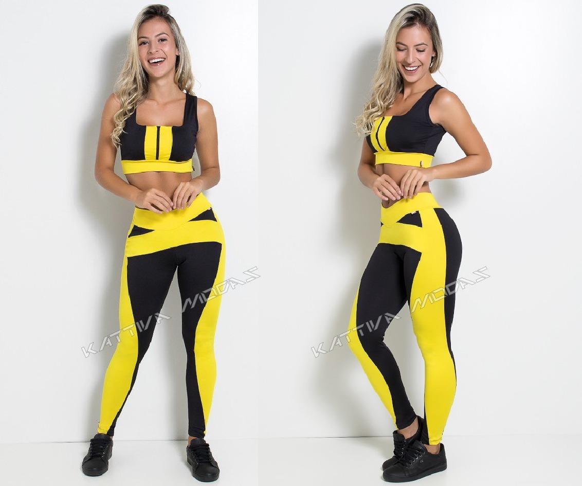 conjunto fitness calça legging top cropped roupas academia. Carregando zoom. 810b2e0a8df