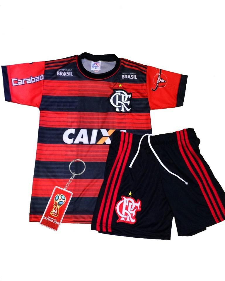 Conjunto Flamengo Infantil Bordado Listrado Preto Vermelho - R  29 ... a68e8990155c2