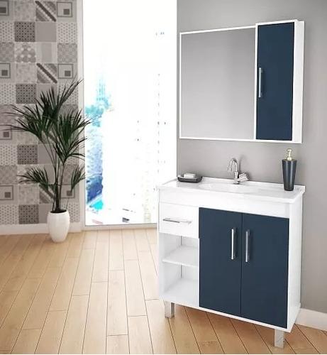 conjunto gabinete armario banheiro porto 80cm várias cores