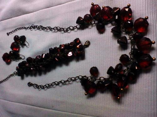 conjunto gargantillo+brazalete+aros bijuteri accesorios