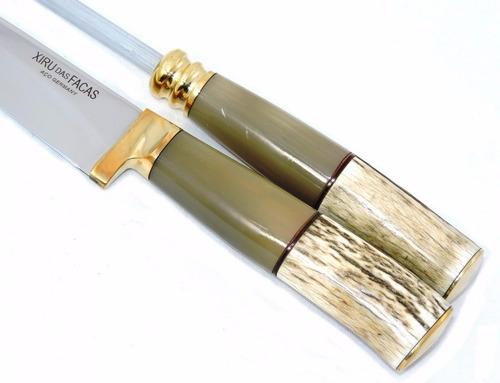 conjunto gaúcho aço germany: faca chaira bainha 5 pol.