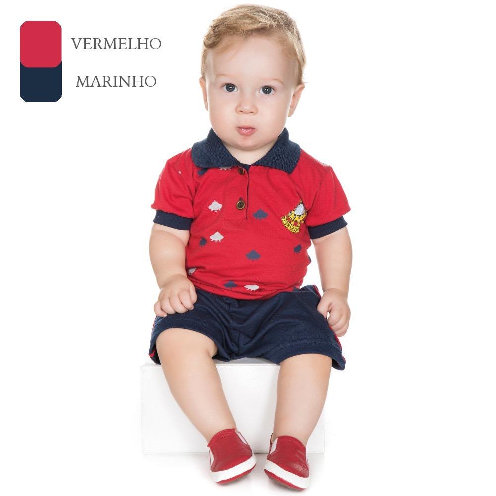 953e0fd913 Conjunto Gola Polo Para Bebê Menino De 0 A 12 Meses (verão) - R  35 ...