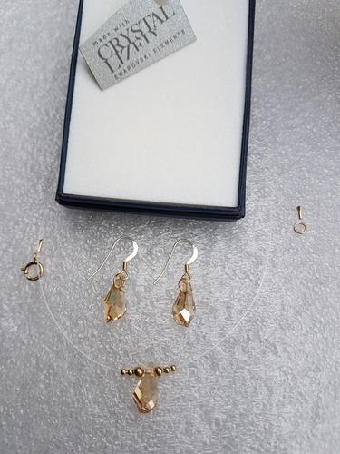 conjunto gota de cristal swarovski en goldfilled 14k.
