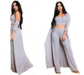 f4f6535ef Conjunto Gris De Blusa + Pantalon + Cardigan Para Mujer Moda